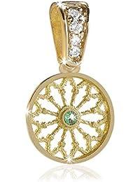 07e57a05d9dbc2 HUMILIS Pendente Terra in Argento Placcato Oro Giallo 24 kt con zirconi  Bianchi e zirconi Verde