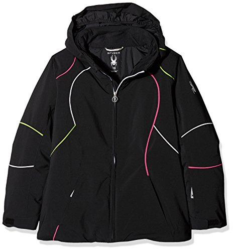 Spyder Mädchen Girl'S Tresh Jacke, 001 Blk/Wht/Fsh, 10 (010) (Spyder Ski-jacke Für Mädchen)
