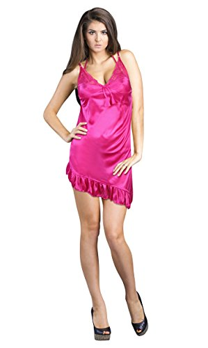 TEQTO Women's Pink Satin Nighty, Bra & Panty Set