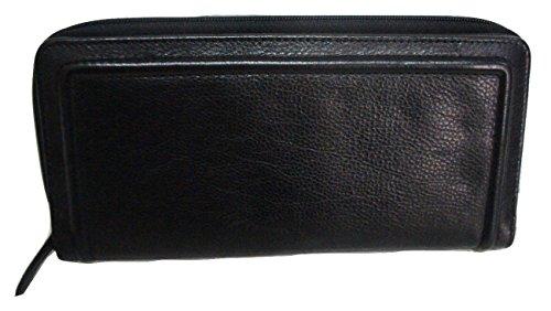 John Lewis Klappe Reißverschluss Lange Geldbörse, um in echter schwarz Distressed Leder -