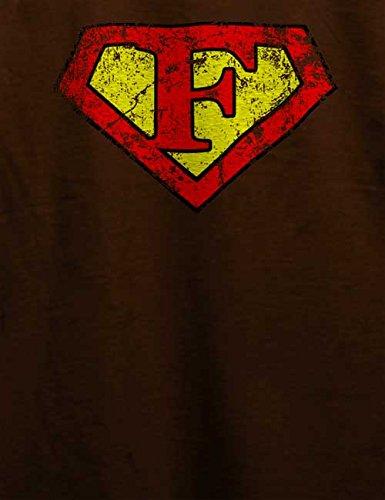 F Buchstabe Logo Vintage T-Shirt Braun