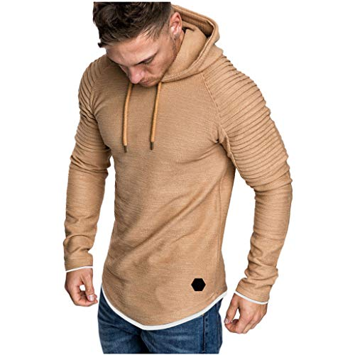 Xmiral Herren Sweatshirt Top Herbst Langarm Plaid Hoodie Mit Kapuze T-Shirt Outwear Streetwear Kapuzenpullover Outdoor Sportbekleidung(Y Khaki,XXL) -
