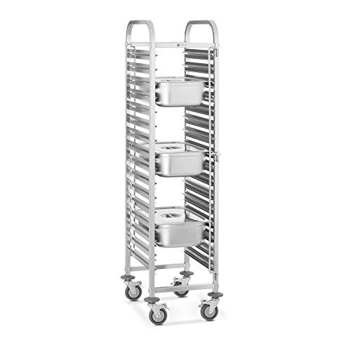 Royal Catering RCTW-16GN.1 Tablettwagen Küchenwagen Abräumwagen Rollwagen (Belastbarkeit 150 kg, Aufnahmekapazität 16 GN-Behälter, Einschubmaße GN 1/1, Behältersicherungen, Edelstahl)