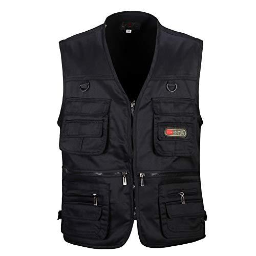 Chaleco De Malla Secado Rápido con Múltiples Bolsillos Posterior Removible Vest Negro XL