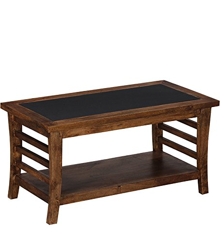 Mamba Wooden coffee table with leather finish black top