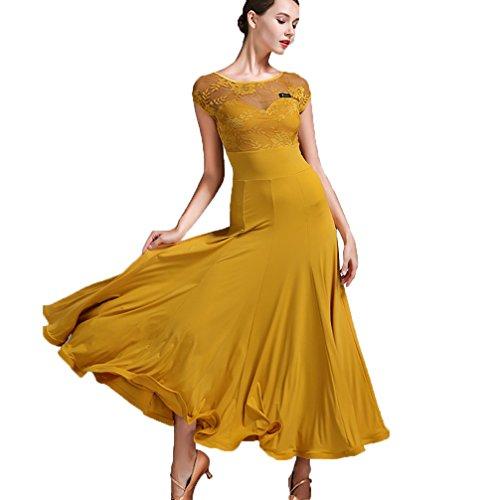 Wangmei Erwachsenes Mädchen Mode Lace Halbarm Modern Dance Rock Kleid Ballsaaltanz Kleidung üben Schiedsrichter Kleidung Perspektive zurück Fischknochen Rock, L