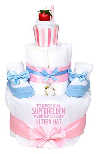 Windeltorte Cupcake Mädchen hellblau/rosa