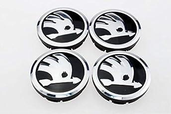 Set of Four 56mm Wheel Hub Caps Only Logo Latest for Skoda Laura Octavia Fabia Superb Rapid Yeti 15'' 16'' Alloy Wheel.