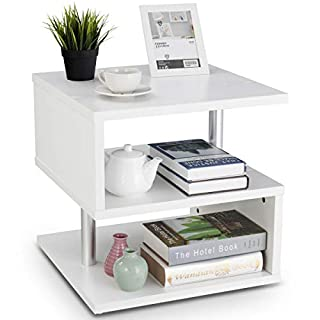 COSTWAY Beistelltisch weiß, Sofatisch aus Holz und Metall, Kaffeetisch 3 Ebenen, Telefontisch quadratisch, Nachttisch 50x50x50cm