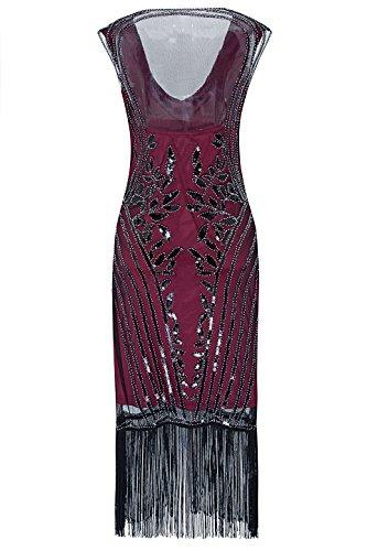 Metme Damen 1920er Jahre Sexy V Ausschnitt Perlen Fransen Great Gatsby Thema Cocktail Party Kleid Prom Ballkleid Rotwein