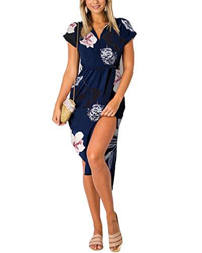 YOINS Sommerkleid Damen Lang V-Ausschnitt Maxikleider für Damen Kleider Strandkleid Strandmode Blumenmuster EU40-42