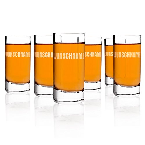 Herz & Heim® Schnapsglas mit Gravur im 6er Set je Glas 1 Name 6-er Set