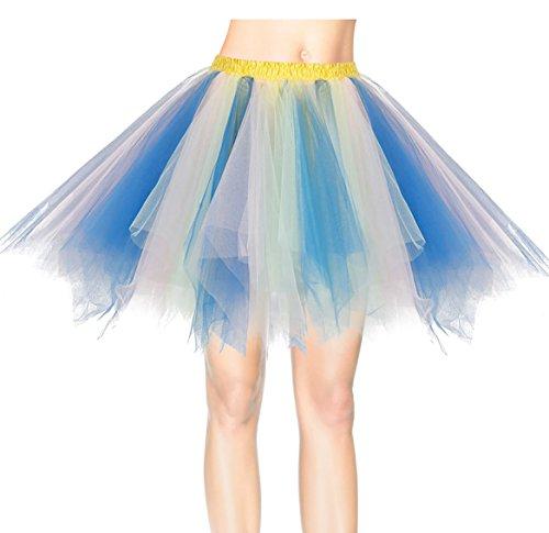 age Petticoat Winter Falten Rock Tüllrock Kurz Ballett Tanzkleid Abendkleid Gelegenheit Zubehör Blue-champagne M (Plus Size Tüll Rock)