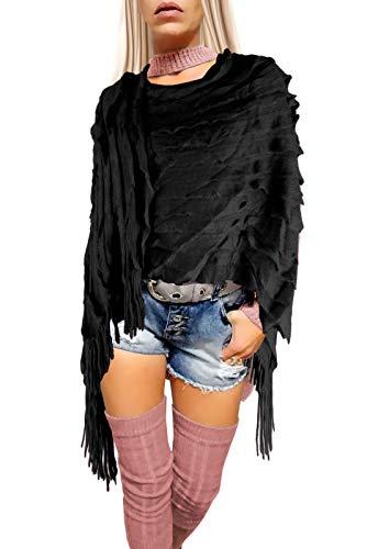 if she Damen Ponchos Strick Capes mit Fransen asymmetrisch zum über stülpen Einheitsgrößen, Farbe:Schwarz, Größe:Einheitsgröße