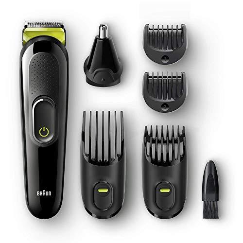 Braun MGK3021 Rasoio Barba Elettrico Tutto in 1 e Tagliacapelli 6 in 1, Rifinitore Corpo, Naso e Orecchie, Nero/Verde