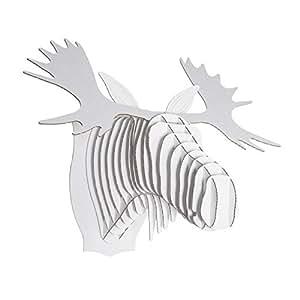 WILD CARDBOARD SAFARI 3D ANIMAL HEAD TROPHY BUST WALL PICTURE MEDIUM in white Fred the Moose by CARDBOARD SAFARI