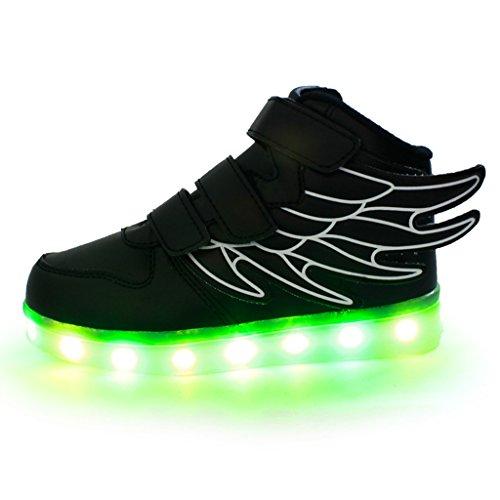 DoGeek - Chaussure Lumière Lumineuse Garçon Fille - 7 Couleurs Led Clignotant - USB Rechargeable Black