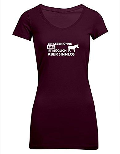 Ein Leben ohne Esel ist möglich aber sinnlos, Frauen T-Shirt Extra Lang - ID104241 Burgundy