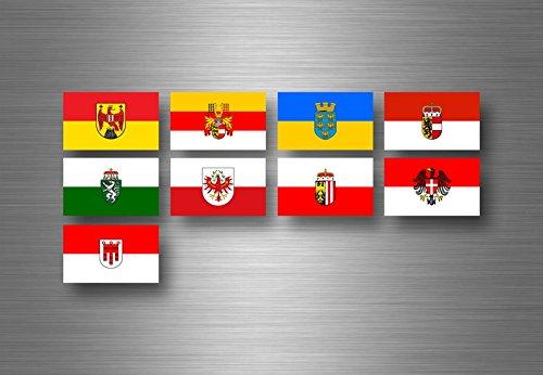Akacha Aufkleber Sticker Set Bundesstaat Lander Flagge flaggen Stempel Fahne österreich