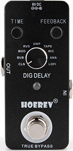 Hoerev Gitarren Effekte Digitale Verzögerung mit 9 Verzögerungs Typen und Anpassung der Verzögerungszeit und Rückmeldung
