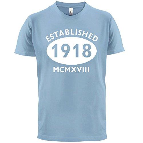 Gegründet 1918 Römische Ziffern - 99 Geburtstag - Herren T-Shirt - 13 Farben  Himmelblau