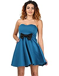 Oops Outlet Womens Ladies Contrast Tie Bow Boobtube Padded Slip On Stretchy Flared Swing Mini Skater Dress Plus Size UK 8-22