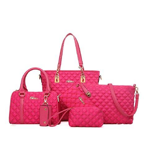 Ducomi® Lexy Five in One - Stilvolle Set von 5 Taschen aus Nylon und Kunstleder (Viola) Pink