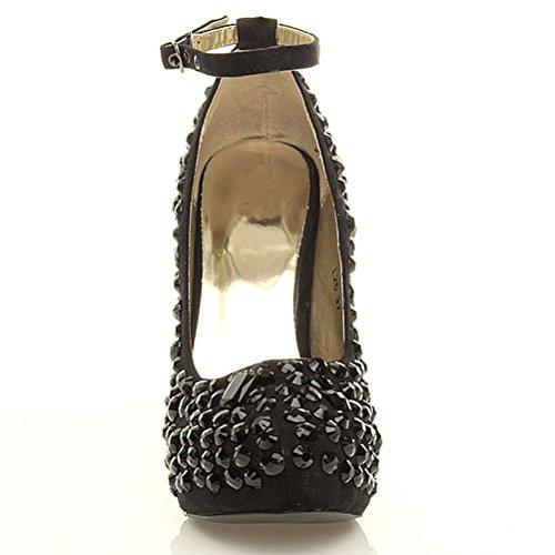 Femmes talon haut gemmes chaussures semelle plateforme escarpins pointure Noir / noir