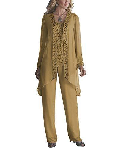 405e279b41919c Pretygirl 3 Stück Elegante Pailletten Chiffon für die Hose mit Jacke Outfit  für Hochzeit
