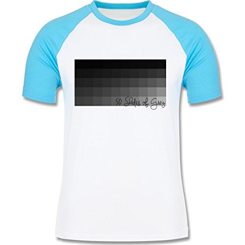 Statement Shirts - 50 Shades of Grey 50 Grauabstufungen - zweifarbiges Baseballshirt für Männer Weiß/Türkis