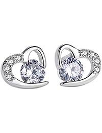 Coeur clous d'oreilles, Amilril Argent Sterling 925 Boucles d'oreilles Femme Bijoux, Anniversaire, Mariage, Noël Cadeau