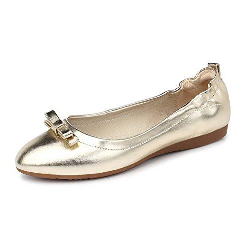 AgooLar Femme Couleur Unie Pu Cuir Non Talon Pointu Tire Chaussures à Plat Doré