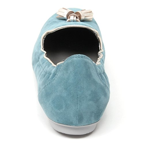 B4790 mocassino donna HOGAN WRAP 144 scarpa pantofola azzurra loafer shoe woman Azzurro