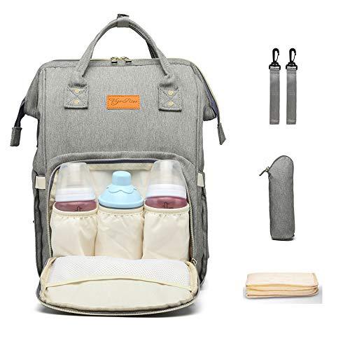 Zaino mamma multifunzione neonato fasciatoio bambino impermeabile borsa nappy stoffa oxford grande capacità con 3 tasche isolanti bottiglia, 2 ganci di passeggino,1 sacchetto di bottiglia (pure grey)