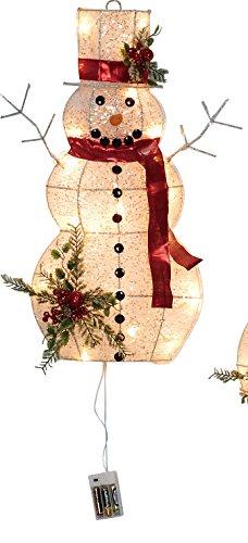One Holiday Lane Weihnachtsdekoration Schneemann zum Aufhängen, groß, mit LED-Beleuchtung, für Innen- und Außenbereich rot