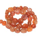 #10: Beadsnfashion Jewellery Making Tumbled Carnelian Stone Beads 16-10 mm 1 String Pack of 16 Inches