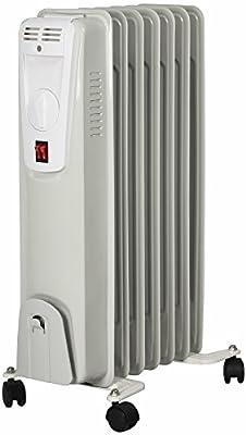 El Fuego® Mobiler Elektro-Ölradiator/ Elektroheizung/ Heizkörper elektrisch, mit 7 Rippen, 1500 W, Thermostatregler, Kippschutz + Überhitzungsschutz, mit 4 Rollen, Weiß, AY 701 von El Fuego bei Heizstrahler Onlineshop