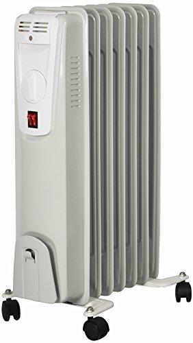 El Fuego® Mobiler Elektro-Ölradiator/ Elektroheizung/ Heizkörper elektrisch, mit 7 Rippen, 1500 W, Thermostatregler, Kippschutz + Überhitzungsschutz, mit 4 Rollen, Weiß, AY 701