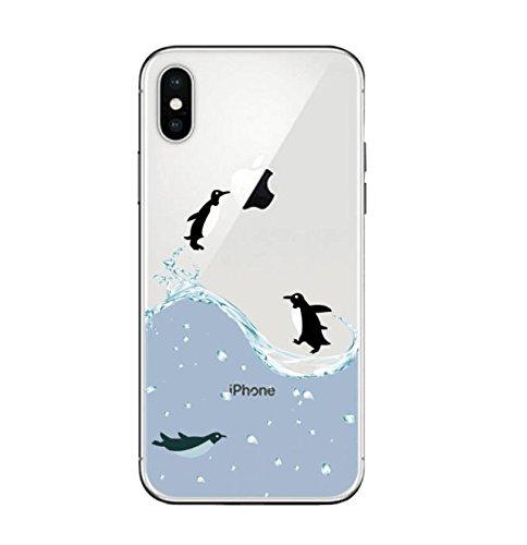 Sycode Custodia per iPhone X,Cover per iPhone X,Silicone Trasparente Case per iPhone X,Liquido Cristallo Chiaro Carina Divertente Motivo Amaca Gatto Morbida Flessibile Silicone Gel Anti Graffio Gomma Saltare Pinguino