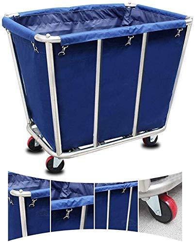 WZCC Schönheitssalon Physiotherapie Equipment-Shelf-Car Medical Warenkorb Blue Heavy Duty Hotel Zimmerservice Bettwäsche Wagen Auf Rädern, Lobby Wäscherei Sorter Wagen Mit Abnehmbarer Abdeckung, 75Kg