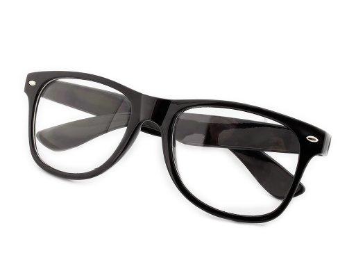 Mode Damen Brillengestell Wayfarer Herren Nerd brille ohne stärke lesebrille Schwarz