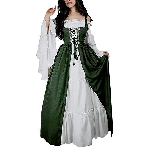 Damen Mittelalter Party Kostüme Kleid, Vintage Mittelalterliche Kleid Lace up Ballkleid mit Trompetenärmel Gothic Prinzessin Renaissance Partykleid Maxikleid Cosplay Kostüm Bodenlänge