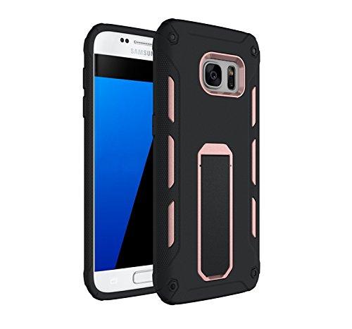 YHUISEN Galaxy S7 Edge Case, Cool Shockproof Rüstung Hybrid 2 In1 TPU und PC Rugged Dual Layer Mit Kickstand Fall für Samsung Galaxy S7 Edge ( Color : Green ) Rose Gold
