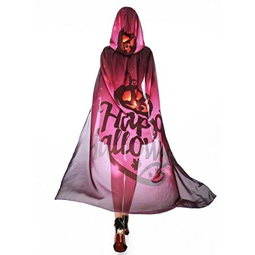 HLHN Halloween Party Kapuzen Umhang, Kürbis Druck Hexe Zauberer Chiffon Karneval Fasching Kostüm Cape mit Kapuze (Weinrot)