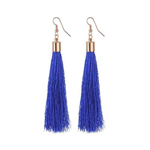 Frauen Handgemachte Lange Quaste Baumeln Haken Ohrringe Vintage Eardrop Schmuck Sapphire (Gold Disc Baumeln Ohrringe)
