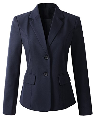 Navy Zwei-knopf-blazer-jacke (Benibos Damen Formelle 2 Knopf Slim Fit Blazer Anzugjacke Sakko (L, Navy))