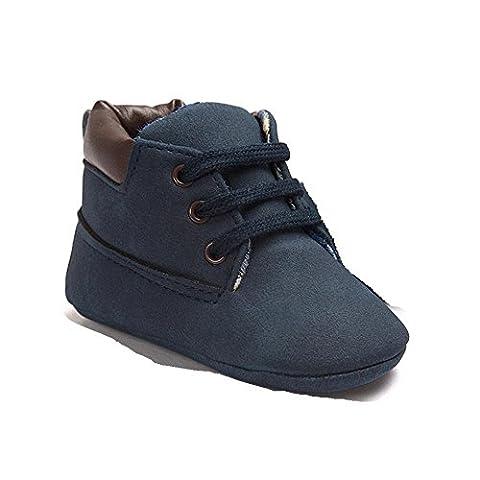 OverDose, BéBé Tout-Petit Doux Unique Cuir Chaussures Enfant GarçOn Jeune Fille Toddler Chaussures (6-12M, Bleu Foncé)