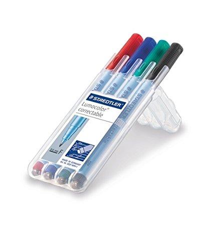 Staedtler Lumocolor 305F WP4-1 Folienstift, correctable, trocken korrigierbar, Set mit 4 Farben, F-Spitze Linienbreite ca. 0.6mm, hohe Qualität