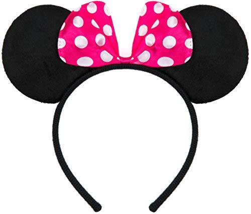 Balinco Haarreifen in schwarz mit Maus Ohren Mouse mit Schleife in pink mit weißen Punkten für Kinder & Erwachsene (Einfach Disney Kostüme Für Kinder)