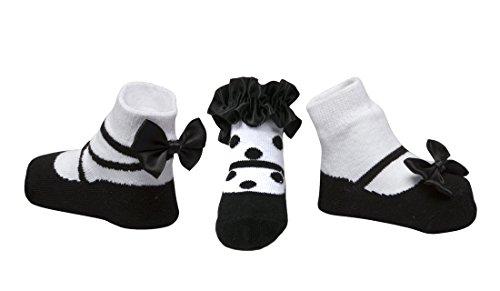 Baby Emporio - Baby Anti-Rutsch-Socken im Schuh-Design für Mädchen - weiche Baumwolle - mit Geschenkbeutel - 3 Paar - 0-9Monate - Schwarz Trio (Trios Leichte 3)
